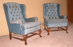2 blue upholstered chairs London Ontario image 1