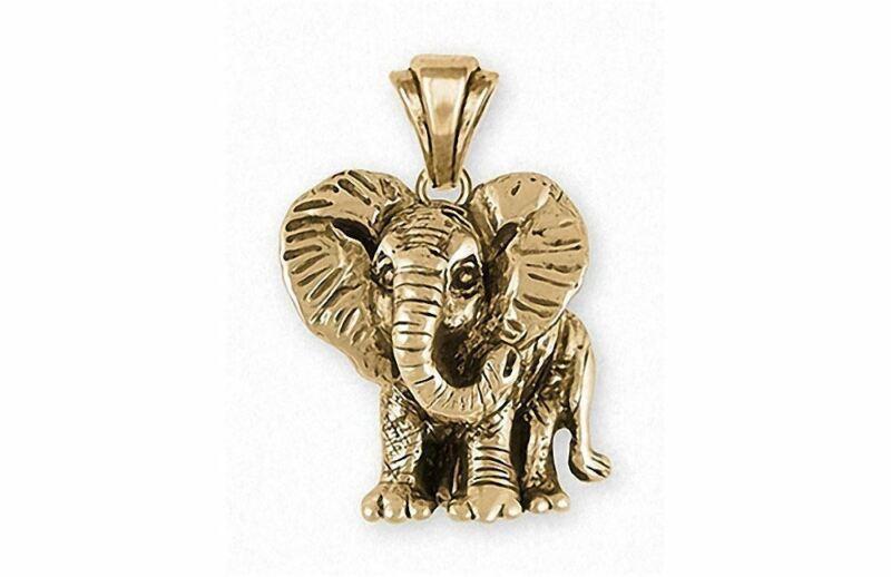 Elephant Jewelry 14k Gold Elephant Pendant Handmade Wildlife Jewelry EL7-PG