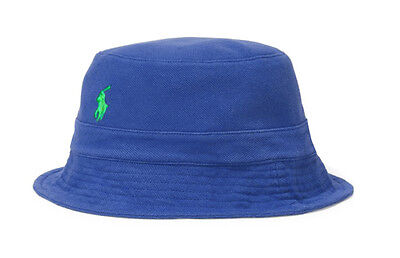 NEW MENS POLO RALPH LAUREN MESH COTTON ROYAL BLUE BUCKET HAT S / M