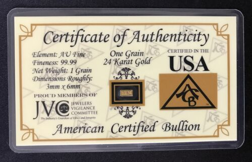 ONE (1)GRAIN .999 Fine 24k Solid Gold Bar Ingot Bullion with COA // Minted ACB