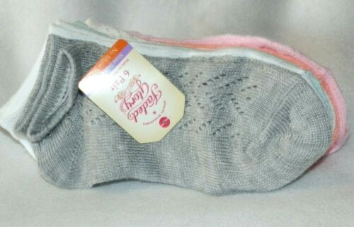 New Toddler sz S 3-10 No Show Socks 6 Pair Pointelle Pink White Gray Faded Glory