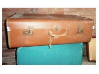 2 large Vintage Suitcases- Up-cycle project,staging items.