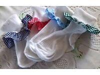 Girls Gingham trimmed white cotton Ankle Socks