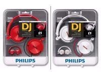 2 x Philips SHL3050 Headphone (White & Red)