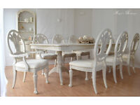 *** UNIQUE & BEAUTIFUL *** !!! Antique Shabby Chic Dining Table and Eight Chairs !!!