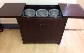 PHILIPS Walnut - 2 Door , 3 Dishes HOSTESS TROLLEY + 1 Months Guarantee + FREE LOCAL DELIVERY