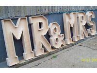 Mr & Mrs 4ft Wooden Letters