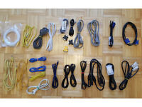 24 x PC Computer Cables - Ethernet Network Cable + Monitor - DVI - RGB - USB