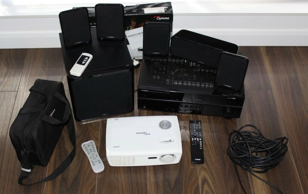 OPTOMA HD 67 PROJECTOR 3D XL ADAPTOR 92 AUTO SCREEN YAMAHA 51 SURROUND SOUND