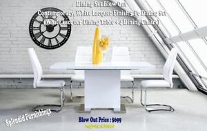 New Year Sale  Contemporary, White Lacquer Finish, 5 Pc Dining Set