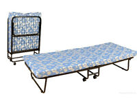 Folding space saving single bed with Mattress - Metal Heavy Duty with Tyres