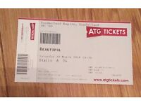 SINGLE FRONT ROW TICKET BEAUTIFUL CAROLE KING MUSICAL SUNDERLAND