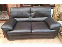 3 seater & 2 seater dark brown real leather sofas