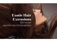 Exotic hair extensions (mobile or come to me hair extensions technician based in paisley)