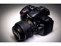 Nikon D5200 DSLR with 18 - 55 mm lens - Only 2021 shutter count. Original box included.