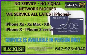 NO SERVICE - NO SIGNAL - NETWORK BLOCKED REPAIR FOR IPHONES XS XS MAX XR X 8 8 PLUS & MORE