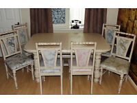 Shabby chic country farmhouse dining table 6 chairs extending 5ft 6ft