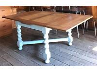 Extra Large Draw Leaf Extending Dining Table With Painted Barley Twist Legs