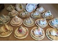 15 PRETTY VINTAGE MISMATCHED BONE CHINA TEA SET TRIOS