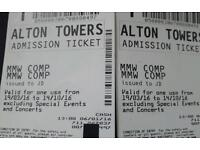 Alton towers tickets 2x