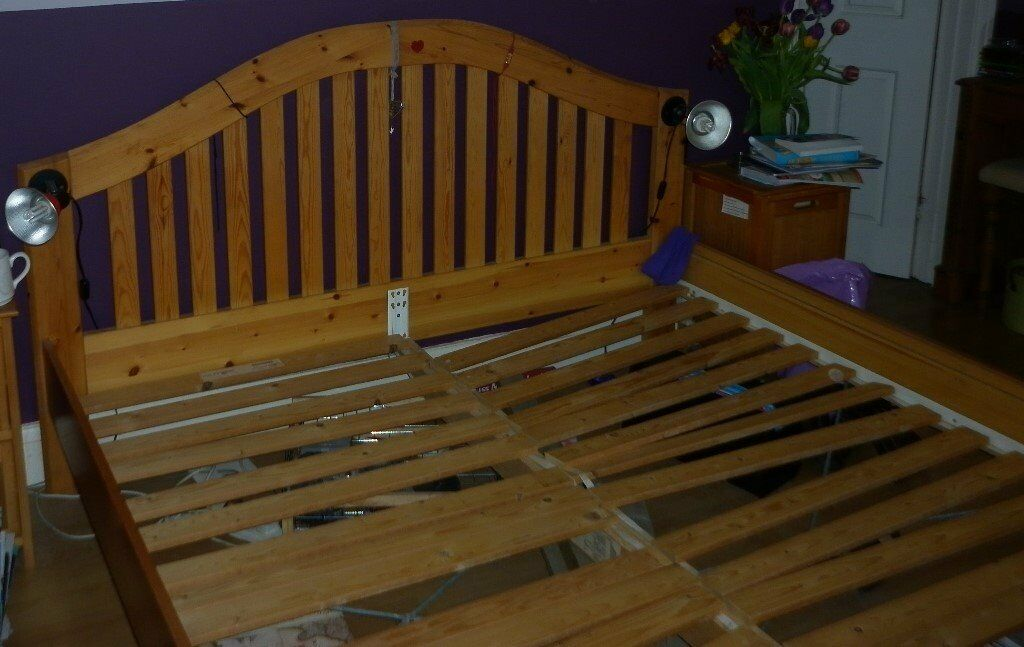 ikea super king size solid pine bed frame 50 ono - Pine Bed Frame
