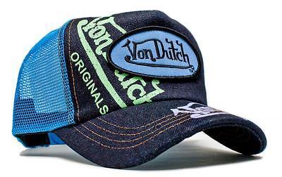 (Authentic Brand New Von Dutch Denim Signature Painted Cap Hat Mesh Snapback)