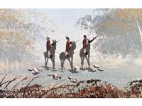 Vintage Oil Painting Of A Bird Shooting Scene On Canvas & framed. By J.Watts.