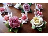 26 Porcelain Roses Flowers Ornaments Figurines Table Art Deco Wedding Party Handmade Capodimonte