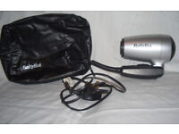 Hairdryer - travel with travel plug and bag