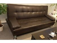 Sofa-Bed, Dark Brown (faux leather), 9 months old, very good condition