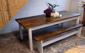 solid recaimed wood dining table set