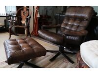 Norwegian reclining leather chair and foot stool.
