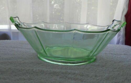 Vintage Cambridge Decagon Green Depression Glass Open Handled Serving Bowl 8 1/2