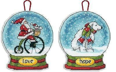 LOT of 2 GLOBE ORNAMENTS Counted Cross Stitch Kits - LOVE~HOPE