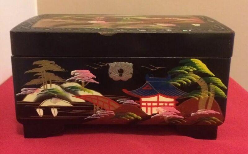 Japanese Vtg. Black Lacquered Abalone Inlay Jewelry Music Box & Key Mount Fiji