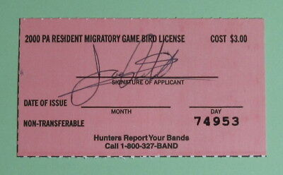 2000 Pennsylvania Resident Migratory Game Bird Hunting License Tag...Free Ship!