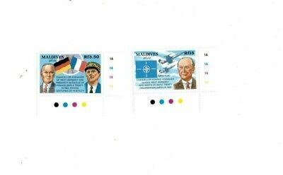 VINTAGE CLASSICS - MALDIVES SC # 1805, 1815 Chancellor Adenauer Stamps MNH