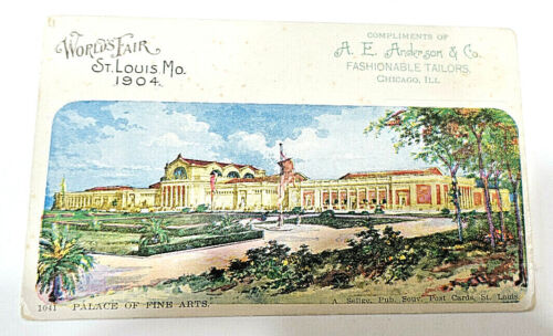 1904 St. Louis Worlds Fair ADVERTISING POSTCARD,A.E. Anderson Tailors,Chicago,IL