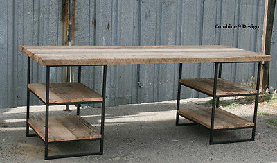 Desk Made Of Steel And Reclaimed Wood. Shelvingstorage. Industrial. Urban.