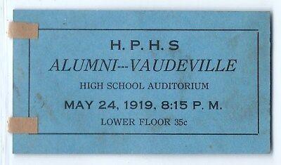 "For sale 1919 Highland Park High School ""alumni Vaudeville"" show ticket, Michigan history"