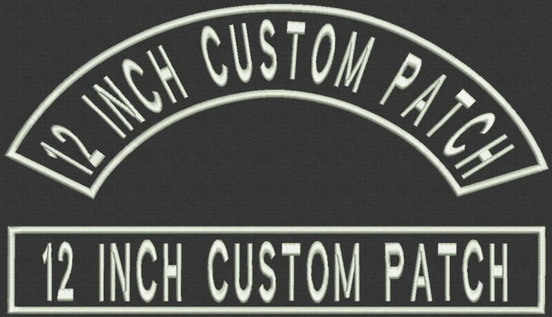 """Set of Top Rocker and Bar  12"""" x 2"""" Patch, Badge, Tag, Iron On or Sew On"""