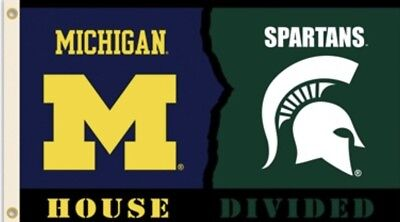 Michigan Wolverines Michigan State Spartans House Divided Flag 3x5 NCAA Banner