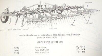 John Deere Harrow Attachment Parts Catalog Used On 1100 1000 1600 Chsl Plowcult