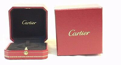 Authentic Cartier Ring Box Empty Red Leather Gold Design Pendant Ribbon Genuine