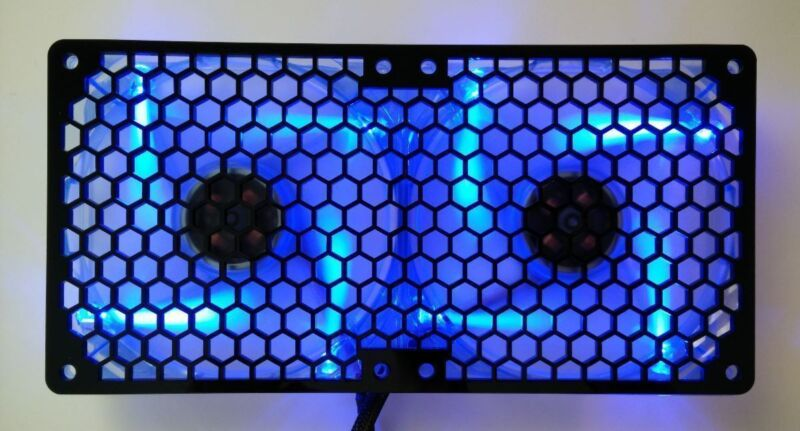 Custom Honeycomb 184mm Radiator double 92mm Fan Grill Computer Case Cooling Mod