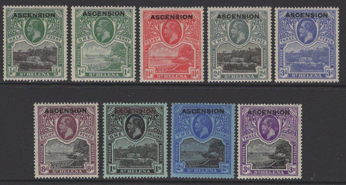 ASCENSION SG1/9 1922 DEFINITIVE SET MTD MINT