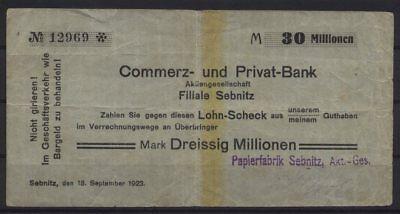 [21139] - Notgeld SEBNITZ, Papierfabrik Sebnitz AG auf Commerz- und Privat-Bank