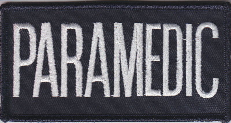 """PARAMEDIC White on Midnight Navy Front Panel Patch 1 7/8"""" X 4 1/8"""" (2 X 4)"""