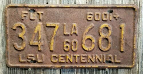 "🐾 1960 LOUISIANA ""LSU CENTENNIAL"" LICENSE PLATE"