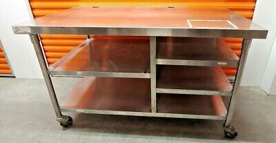 Heavy Duty 60 X 37 Commercial Kitchen Work Prep Food Table On Casters